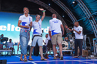 Waiving good bye to the Dutch Olypmic Sailing team. May 26th 2012. Delta Lloyd Regatta  (22/26 May 2012). Medemblik - the Netherlands.
