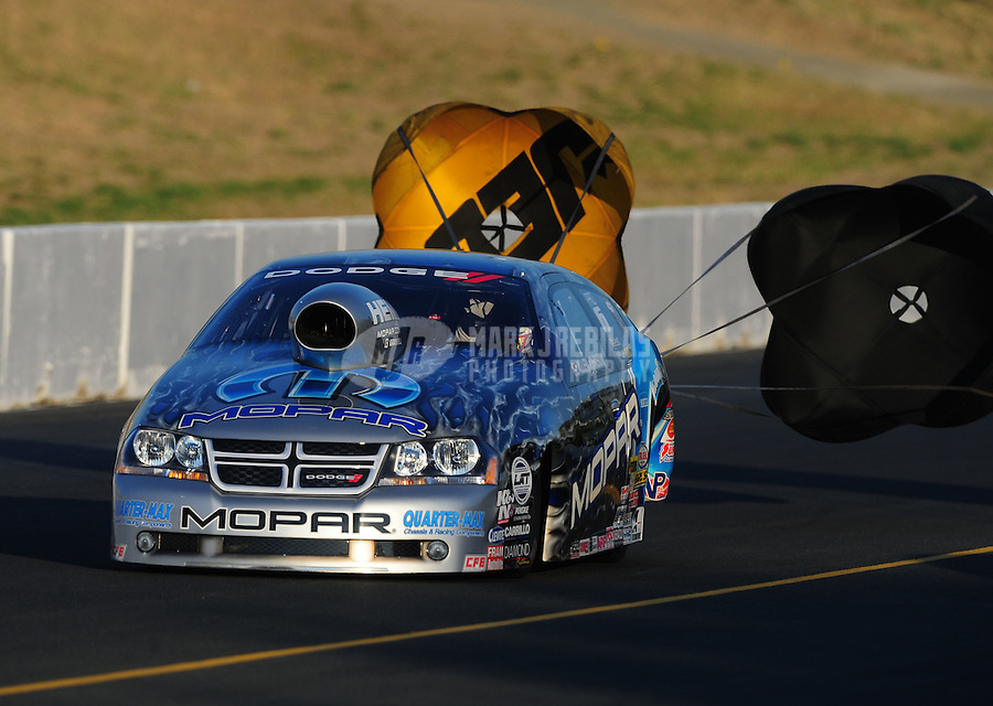 Jul. 29, 2011; Sonoma, CA, USA; NHRA pro stock driver Allen Johnson during qualifying for the Fram Autolite Nationals at Infineon Raceway. Mandatory Credit: Mark J. Rebilas-