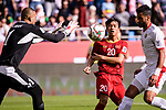 Goalkeeper Amer Shafi of Jordan (L) reaches for the ball after an attempt at goal by Phan Van Duc of Vietnam (C) during the AFC Asian Cup UAE 2019 Round of 16 match between Jordan (JOR) and Vietnam (VIE) at Al Maktoum Stadium on 20 January 2019 in Dubai, United Arab Emirates. Photo by Marcio Rodrigo Machado / Power Sport Images