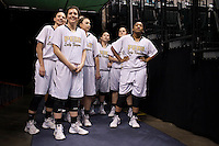 Penn players wait to take the floor during the IHSAA Class 4A Girls Basketball State Championship Game on Saturday, Feb. 27, 2016, at Bankers Life Fieldhouse in Indianapolis.