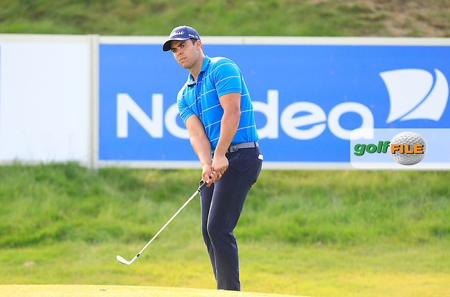 Dimitrios Papadators (AUS) at the 18th green during Round 1 of the Made in Denmark 2016 at the Himmerland Golf Resort, Farso, Denmark on Thursday 25th August 2016.<br /> Picture:  Thos Caffrey / www.golffile.ie<br /> <br /> All photos usage must carry mandatory copyright credit   (&copy; Golffile   Thos Caffrey)