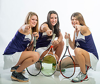NWA Democrat-Gazette/BEN GOFF @NWABENGOFF<br /> Yasmine Humbert (from left), Mary Houston and Grace Coleman of Fayetteville pose for a photo Thursday, Nov. 29, 2018, at the Northwest Arkansas Democrat-Gazette studio in Springdale. Houston is the girls tennis singles player of the year and Humbert and Coleman are girls tennis doubles team of the year.