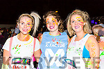 Megan Dunne Ardfert, Marita McSweeney Scartaglen and Sinead Collins kilcummin  at the Killarney Glow Neon run on Saturday night