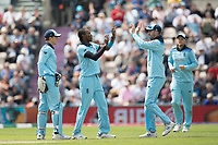 Jofra Archer (England) celebrates the wicket of Carlos Braithwaite (West Indies)during England vs West Indies, ICC World Cup Cricket at the Hampshire Bowl on 14th June 2019