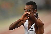 Telahun Haile Bekele of Ethiopia celebrates after winning the men's 5000m at the IAAF Diamond League Golden Gala <br /> Roma 06-06-2019 Stadio Olimpico, <br /> Meeting Atletica Leggera <br /> Photo Andrea Staccioli / Insidefoto