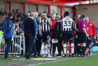 Scott Vernon of Grimsby Town leaves the field with a head injury <br /> during the Sky Bet League 2 match between Accrington Stanley and Grimsby Town at the Fraser Eagle Stadium, Accrington, England on 25 March 2017. Photo by Tony  KIPAX / PRiME Media Images.