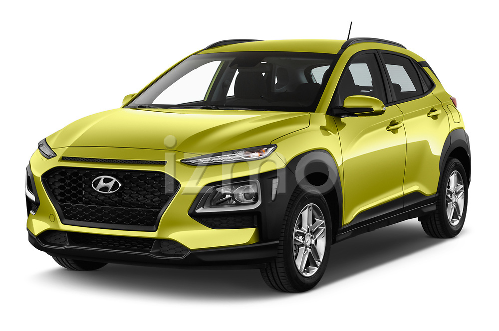 2018 Hyundai Kona Twist 5 Door SUV angular front stock photos of front three quarter view