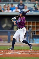 Charlotte Stone Crabs left fielder Miles Mastrobuoni (5) follows through on a swing during a game against the Palm Beach Cardinals on April 21, 2018 at Charlotte Sports Park in Port Charlotte, Florida.  Charlotte defeated Palm Beach 5-2.  (Mike Janes/Four Seam Images)