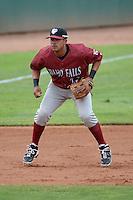 Idaho Falls Chukars third baseman Adrian Bringas #22 on defense against the Ogden Raptors at Lindquist Field on June 23, 2013 in Ogden, Utah. (Stephen Smith/Four Seam Images)