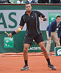 Jo-Wilfried Tsonga (FRA) battles against Pablo Andujar (ESP) at  Roland Garros being played at Stade Roland Garros in Paris, France on May 29, 2015