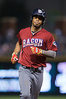 Nick Williams (4) of the Lehigh Valley Iron Pigs rounds the bases after hitting a home run against the Charlotte Knights at BB&T BallPark on June 3, 2016 in Charlotte, North Carolina.  The Iron Pigs defeated the Knights 6-4.  (Brian Westerholt/Four Seam Images)