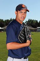 Connecticut Tigers pitcher Rayni Guichardo (20) before a double header vs. the Batavia Muckdogs at Dwyer Stadium in Batavia, New York July 10, 2010.  Connecticut dropped the first game 3-5 then defeated Batavia 8-1 in the night cap.  Photo By Mike Janes/Four Seam Images
