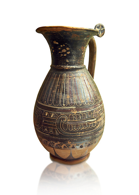 580 - 560 B.C olpai style jug made by the Etrusco-Corinthian Group of Palmette Fenicie, inv 71019,   National Archaeological Museum Florence, Italy , white background