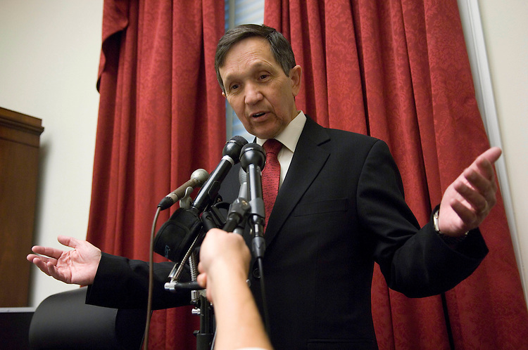 WASHINGTON, DC - Nov. 06: Rep. Dennis J. Kucinich, D-Ohio, also a presidential candidate, during a news conference in his office in the Rayburn House Office Building after the House sent his resolution of impeachment against Vice President Dick Cheney back to the House Judiciary Committee. Judiciary Chairman John Conyers Jr., D-Mich., has said that it will not be considered further. (Photo by Scott J. Ferrell/Congressional Quarterly).