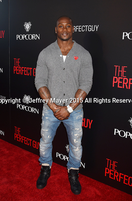 BEVERLY HILLS, CA - SEPTEMBER 02: Former NFL Player Thomas Q. Jones arrives at the premiere of Screen Gems' 'The Perfect Guy' at The WGA Theater on September 2, 2015 in Beverly Hills, California.