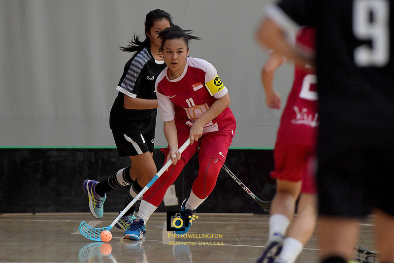 Singapore's Syafizah Safi in action during the World Floorball Championships 2017 Qualification for Asia Oceania Region - Singapore v Thailand at ASB Sports Centre , Wellington, New Zealand on Sunday 5 February 2017.<br /> Photo by Masanori Udagawa<br /> www.photowellington.photoshelter.com.