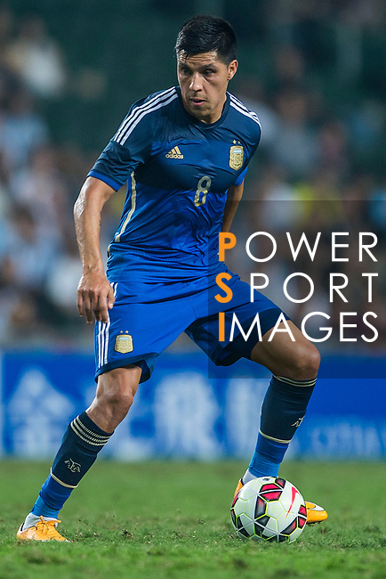 (R) Enzo Perez of Argentina in action during the HKFA Centennial Celebration Match between Hong Kong vs Argentina at the Hong Kong Stadium on 14th October 2014 in Hong Kong, China. Photo by Aitor Alcalde / Power Sport Images