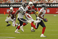 Aug 18, 2007; Glendale, AZ, USA; Houston Texans cornerback Jamar Fletcher (21) returns an interception for a touchdown in the third quarter against the Arizona Cardinals at University of Phoenix Stadium. Mandatory Credit: Mark J. Rebilas-US PRESSWIRE Copyright © 2007 Mark J. Rebilas