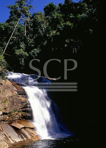 Desengano, Brazil. Waterfall in the rain forest Mata Atlantica.