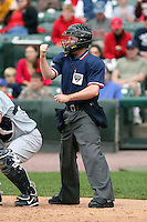 June 1st 2008:  Home plate umpire Brian Kennedy during a game at Frontier Field in Rochester, NY.  Photo by:  Mike Janes/Four Seam Images