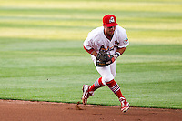 Greg Garcia (7) of the Springfield Cardinals fields a ground ball during a game against the Arkansas Travelers at Hammons Field on June 12, 2012 in Springfield, Missouri. (David Welker/Four Seam Images)