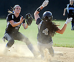 (Lowell MA 06/14/15) Medford 4, Renee Staude, is out stealing second as Methuen shortstop, 9, Angela Correia, is waiting for her, during the MIAA Division 1 State Final game, Sunday, June 14, 2015, at Martin Park in Lowell. Herald Photo by Jim Michaud