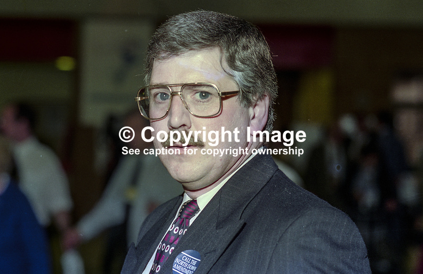 Leonard Fee, Conservative Party activist, N Ireland, UK. Taken at 1995 Conservative Conference in Blackpool. Ref: 199510221.<br />