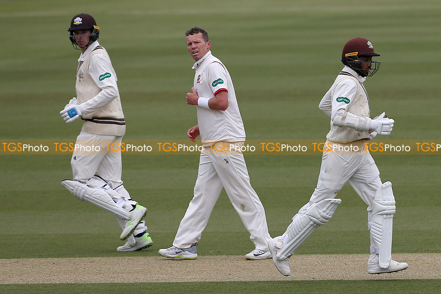 Ryan Patel (R) and Freddie van den Bergh add to the Surrey total as Peter Siddle looks on during Surrey CCC vs Essex CCC, Specsavers County Championship Division 1 Cricket at the Kia Oval on 12th April 2019