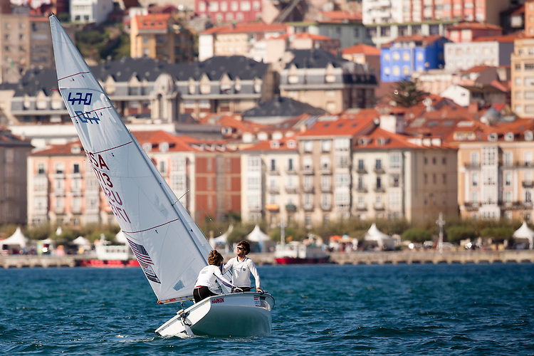 SANTANDER, SPAIN - SEPTEMBER 20:  470 Men - USA1713 - Stu Mcnay / Dave Hughes in action during the Medal Race on Day 9 of the 2014 ISAF Sailing World Championships on September 20, 2014 in Santander, Spain.  (Photo by MickAnderson/SAILINGPIX via Getty Images)