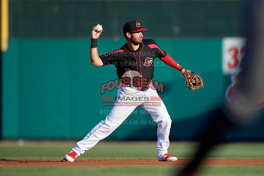 Rochester Red Wings second baseman Alex Perez (8) throws to first base during a game against the Lehigh Valley IronPigs on September 1, 2018 at Frontier Field in Rochester, New York.  Lehigh Valley defeated Rochester 2-1.  (Mike Janes/Four Seam Images)