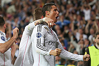 Real Madrid´s Portuguese forward Cristiano Ronaldo celebrating goal of Chicharito