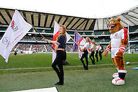 Ruckley, the England bulldog mascot, waits for the team during Day Two of the iRB Marriott London Sevens at Twickenham on Sunday 11th May 2014 (Photo by Rob Munro)