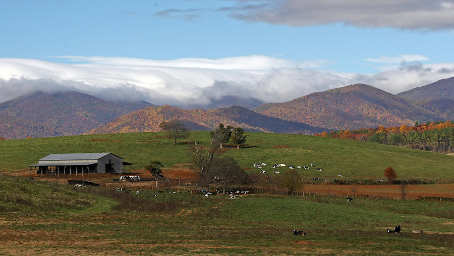 Clouds shadow a country mountainside in Albemarle County, VA