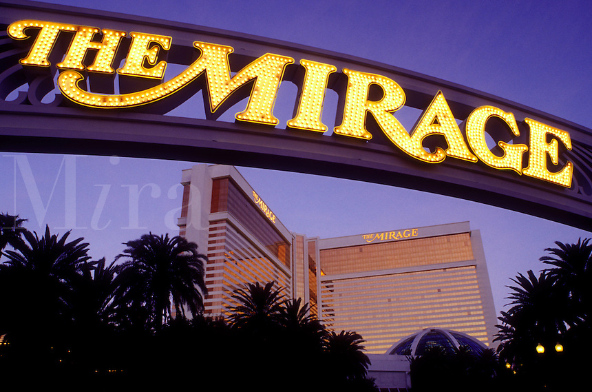 Las Vegas, Nevada, casino, NV, The Strip, Entrance to the Mirage Hotel & Casino on The Strip at night in Las Vegas, the Entertainment Capital of the World.
