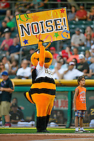 Salt Lake Bees mascot Bumble encourages the crowd to make some noise during the game against the Tacoma Rainiers in Pacific Coast League action at Smith's Ballpark on July 23, 2016 in Salt Lake City, Utah. The Rainiers defeated the Bees 4-1. (Stephen Smith/Four Seam Images)