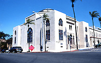 San Diego: Temple Beth Israel, Northwest corner of 3rd & Laurel. Built in 1926. William Wheeler, Arch. Mission style, NRHP 1978. Photo '80.