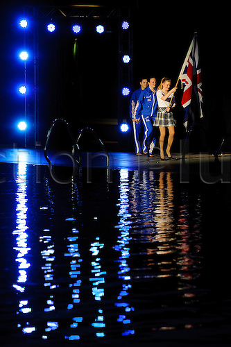 19.04.2013 Edinburgh, Scotland. Alicia Blagg & Rebecca Gallantree of Great Britain (GBR) are introduced for the Womens 3m Synchronised Springboard Final on Day 1 of the FINA/Midea Diving World Series 2013 at the Royal Commonwealth Pool in Edinburgh.
