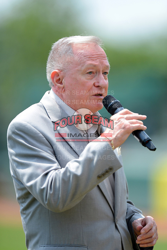 Jack McDade, the first ever guest on Dick Clark's American Bandstand, sings the national anthem before a Trenton Thunder game against the Reading Fightin Phils on July 8, 2013 at Arm & Hammer Park in Trenton, New Jersey.  Trenton defeated Reading 10-6.  (Mike Janes/Four Seam Images)