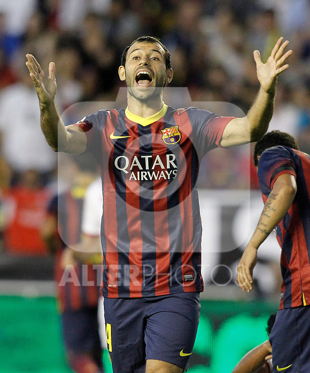 FC Barcelona's Javier Mascherano during La Liga match.September 21,2013. (ALTERPHOTOS/Acero)