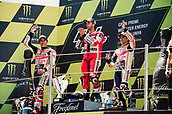 June 11th 2017, Barcelona Circuit, Montmelo, Catalunya, Spain; MotoGP Grand Prix of Catalunya, Race Day; (L-R) Marc Marquez of the Repsol Honda Motogp Team Andrea Dovizioso; of the Ducati Motogp Team and Dani Pedrosa of the Repsol Honda Motogp Team celebrate on the podium after the Motogp race