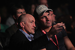 NEWPORT, WALES - November 23:.Barry McGuigan and Joe Calzaghe sat ringside at the World Series of Boxing event between British Lionhearts and Dolce & Gabbana Italia Thunder at The Celtic Manor Resort in Wales..23.11.12..©Steve Pope - Sportingwales