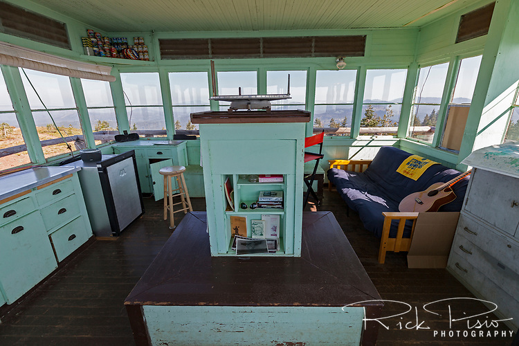 The interior of the Mt. Harkness fire lookout station atop Mt. Harkness in Lassen Volcanic National Park.