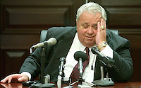 TALLAHASSEE, FL. 4/25/03-Senate President Jim King, R-Jacksonville, talks about budget negotiations during a news conference Friday at the Capitol in Tallahassee. COLIN HACKLEY PHOTO