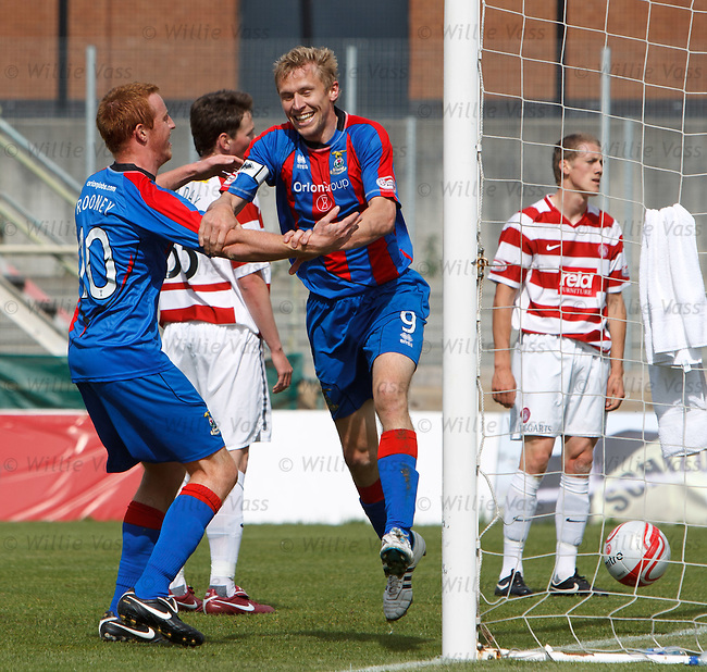 Richie Foran celebrateswith team mate Adam Rooney as he opens the scoring for Inverness
