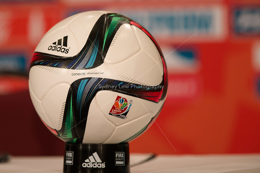June 7, 2015: The official ball shown at a press conference ahead of a Group C match at the FIFA Women's World Cup Canada 2015 between Cameroon and Ecuador at BC Place Stadium on 8 June 2015 in Vancouver, Canada. Sydney Low/AsteriskImages