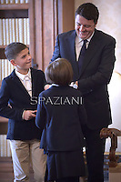 Italian Premier Matteo Renzi.Pope Francis  meets Italian Premier Matteo Renzi and his family during a private audience at the Vatican, on December 13, 2014.