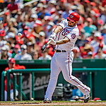 14 April 2018: Washington Nationals first baseman Matt Adams at bat against the Colorado Rockies at Nationals Park in Washington, DC. The Nationals rallied to defeat the Rockies 6-2 in the 3rd game of their 4-game series. Mandatory Credit: Ed Wolfstein Photo *** RAW (NEF) Image File Available ***