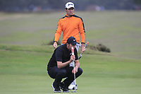 Ricardo Gouveia (POR) and Ashley Chesters (ENG) on the 12th green during Round 1of the Sky Sports British Masters at Walton Heath Golf Club in Tadworth, Surrey, England on Thursday 11th Oct 2018.<br /> Picture:  Thos Caffrey | Golffile<br /> <br /> All photo usage must carry mandatory copyright credit (© Golffile | Thos Caffrey)