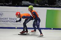 SHORTTRACK: DORDRECHT: Sportboulevard Dordrecht, 24-01-2015, ISU EK Shorttrack, Sjinkie KNEGT (NED | #1), Freek VAN DER WART (NED | #52), ©foto Martin de Jong