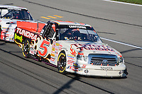 Mike Skinner in the Tundra Toyota ran in first for 58 laps before finishing in the number five position in the Nascar Craftsman Truck Series O'Reilly Auto Parts 250 at Kansas Speedway in Kansas City, Kansas on April 28, 2007.